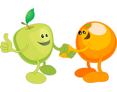 Picture of an apple and orange