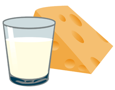 Picture of a glass of milk and a block of cheese